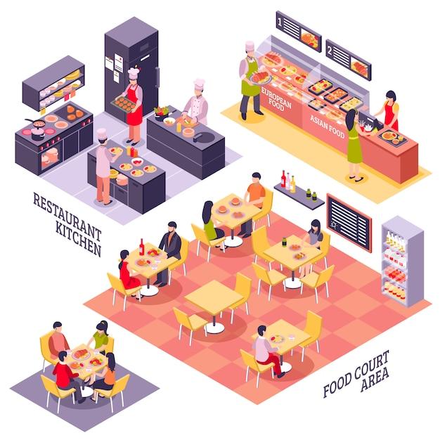 Concepto de diseño del patio de comidas vector gratuito