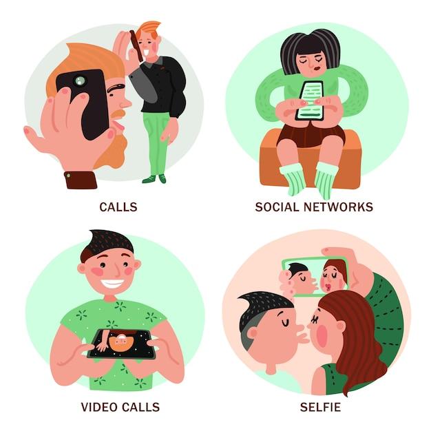 Concepto de diseño de personas con teléfonos inteligentes vector gratuito