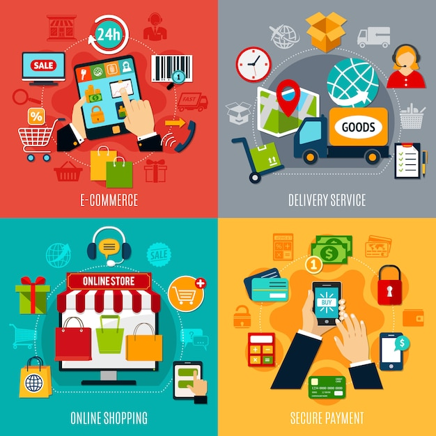 Concepto de diseño plano de comercio electrónico vector gratuito