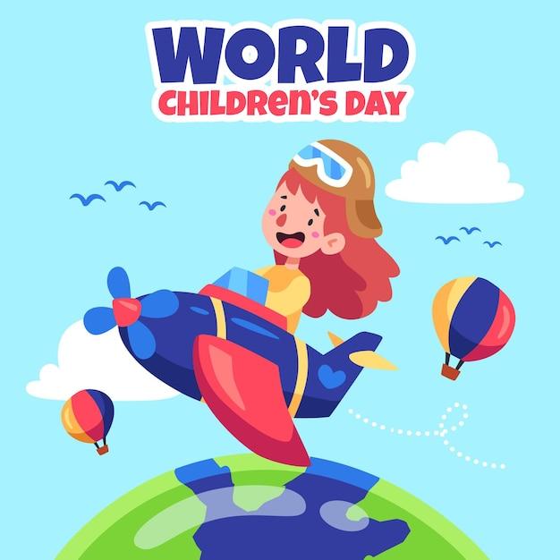Concepto de diseño plano del día mundial del niño. vector gratuito
