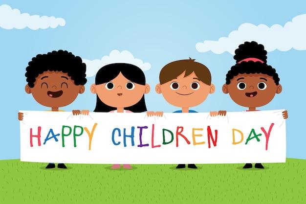 Concepto de diseño plano del día mundial del niño. Vector Premium