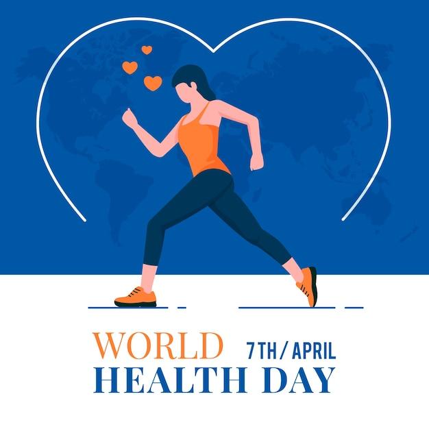 Concepto de diseño plano del día mundial de la salud vector gratuito