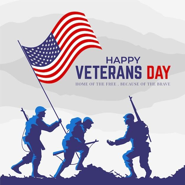 Concepto de diseño plano del día de los veteranos vector gratuito