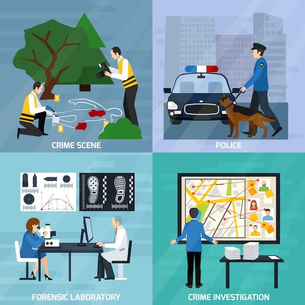 Concepto de diseño plano de investigación de crimen vector gratuito