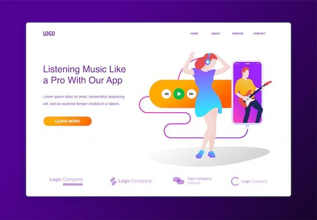 Concepto de diseño plano moderno de aplicación de reproductor de música en línea para sitio web, página de destino Vector Premium