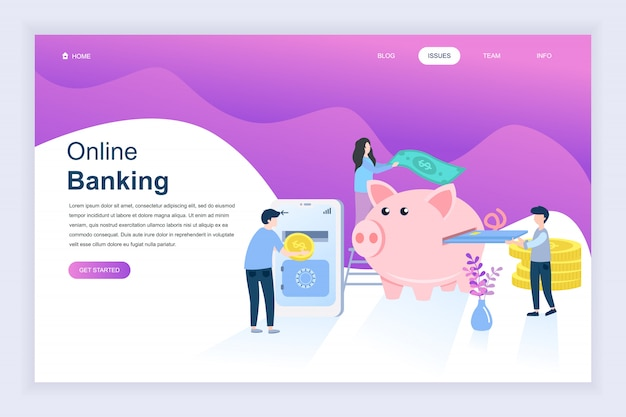 Concepto de diseño plano moderno de la banca en línea para el sitio web Vector Premium