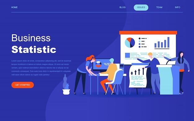 Concepto de diseño plano moderno de estadística empresarial. Vector Premium