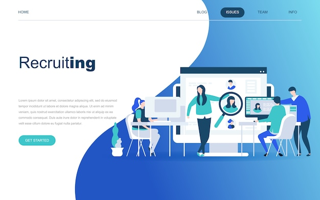 Concepto de diseño plano moderno de reclutamiento de negocios Vector Premium