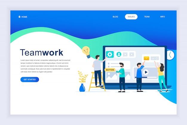 Concepto de diseño plano moderno de teamwork para sitio web. Vector Premium