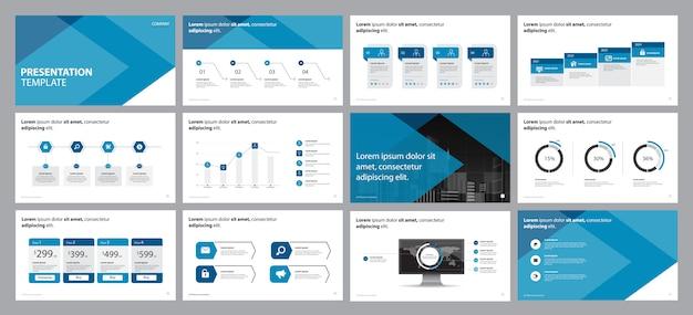 Concepto de diseño de presentación de negocios con elementos de infografía Vector Premium