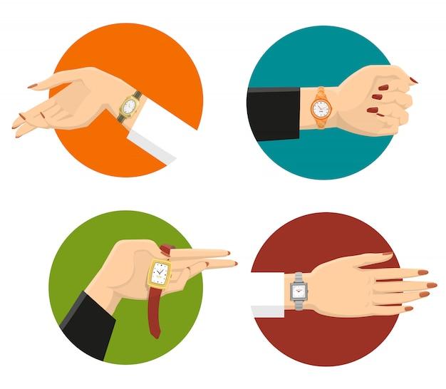 Concepto de diseño de relojes de pulsera de las mujeres vector gratuito