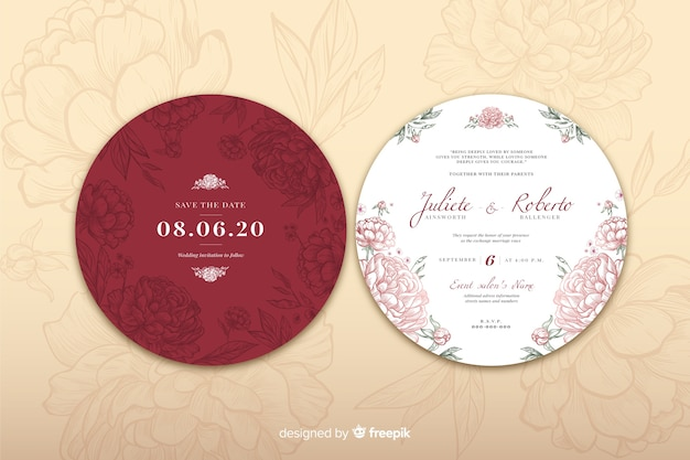 Concepto de diseño simple para invitación de boda vector gratuito