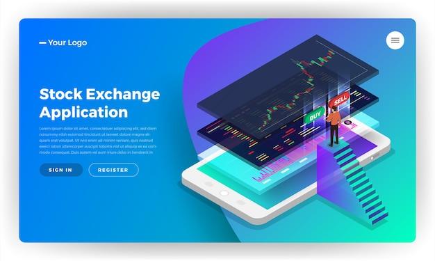 Concepto de diseño de sitio web de página de destino aplicación móvil de bolsa Vector Premium