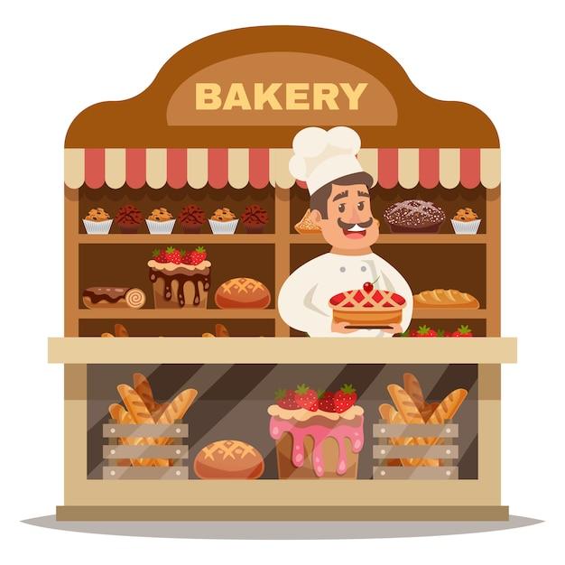 Concepto de diseño de la tienda de panadería vector gratuito