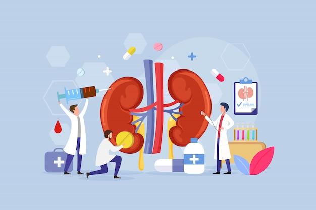 Concepto de diseño de tratamiento de enfermedad renal con personas pequeñas Vector Premium