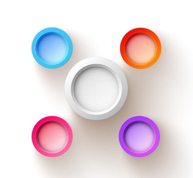Concepto de diseño web abstracto con cinco coloridos botones redondos en blanco sobre blanco aislado vector gratuito