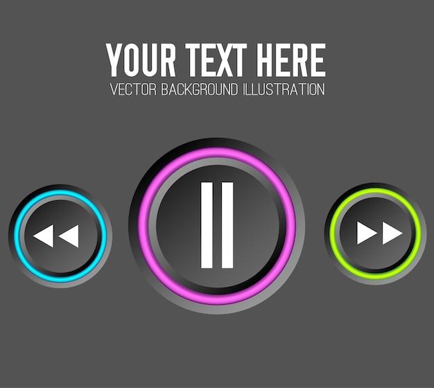 Concepto de diseño web de música con botones redondos de control y bordes coloridos vector gratuito