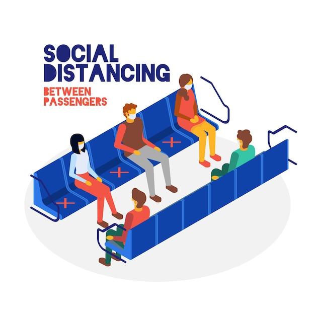 Concepto de distancia social entre pasajeros vector gratuito