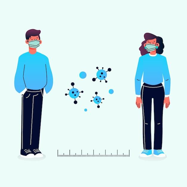 Concepto de distanciamiento social con distancia vector gratuito