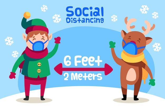 Concepto de distanciamiento social con elfos y renos. vector gratuito