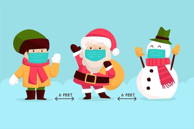 Concepto de distanciamiento social con personajes navideños Vector Premium