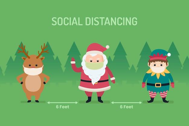 Concepto de distanciamiento social con personajes navideños vector gratuito