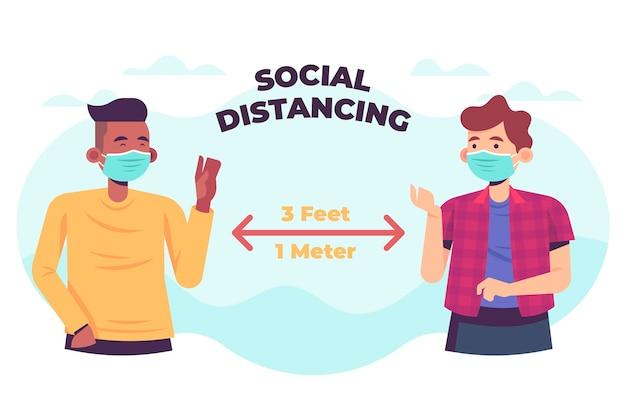Concepto de distanciamiento social vector gratuito