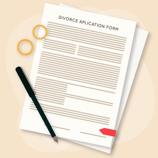 Concepto de divorcio con formulario de solicitud Vector Premium