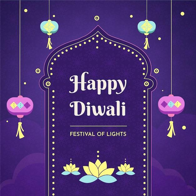 Concepto de diwali dibujado a mano vector gratuito