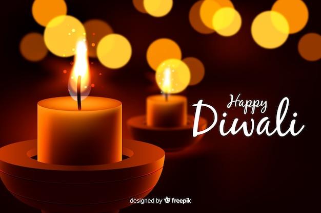 Concepto de diwali con fondo realista vector gratuito