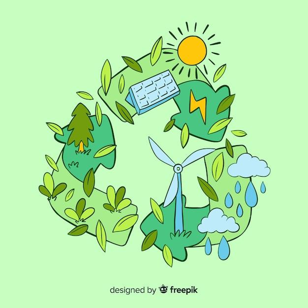 Concepto de ecología dibujado a mano con elementos naturales vector gratuito