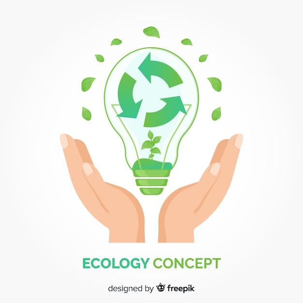 Concepto de ecología en diseño plano con elementos naturales vector gratuito