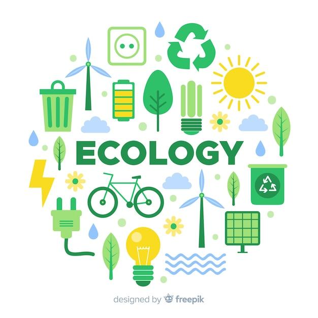 Concepto de ecología en diseño plano con elementos naturales Vector Premium