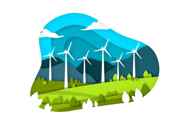 Concepto de ecología en papel con turbinas eólicas. Vector Premium