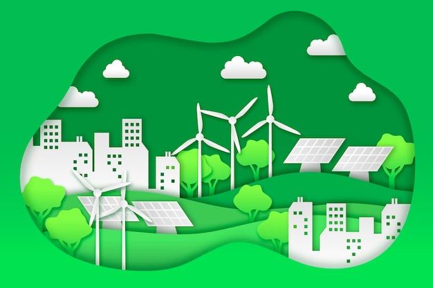 Concepto de ecología en papel vector gratuito