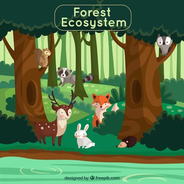 Concepto de ecosistema del bosque con animales adorables vector gratuito