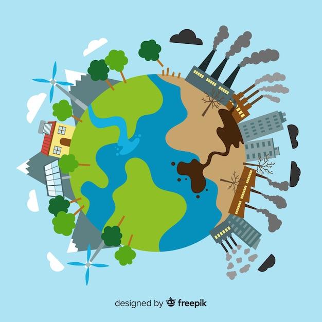 Concepto de ecosistema y contaminación en globo vector gratuito