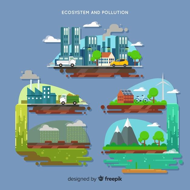 Concepto de ecosistema y contaminación vector gratuito