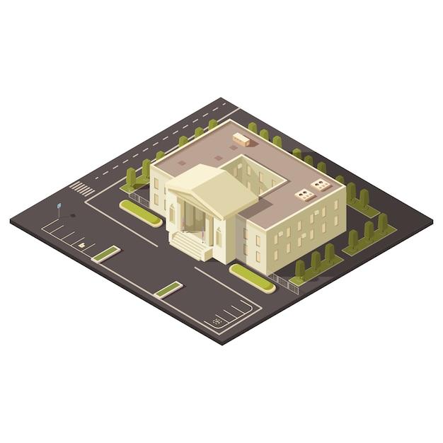 Concepto de edificio de gobierno con estacionamiento y césped y árboles ilustración vectorial isométrica vector gratuito