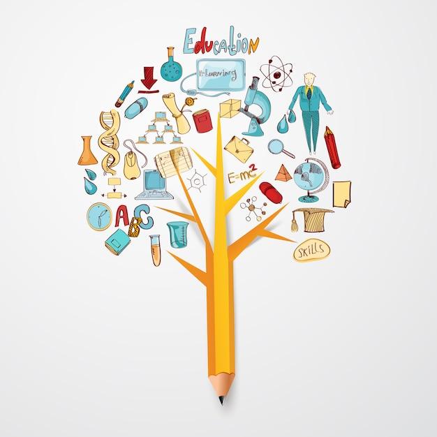 Concepto de educación doodle vector gratuito