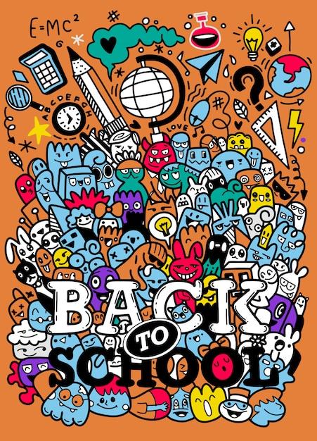 Concepto de educación fondo escolar con útiles escolares dibujados a mano con letras de regreso a la escuela en estilo pop art Vector Premium