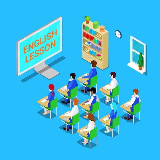 Concepto de educación en línea. aula isométrica con estudiantes en clase de inglés. ilustración vectorial Vector Premium