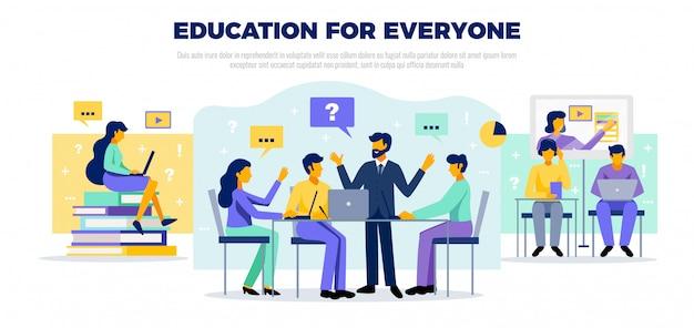 Concepto de educación en línea con educarion para todos los símbolos ilustración plana vector gratuito