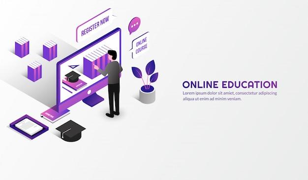 Concepto de educación en línea moderna isométrica, aprender de casa por curso de e-learning Vector Premium