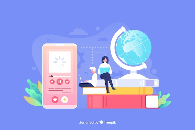 Concepto de educación online vector gratuito