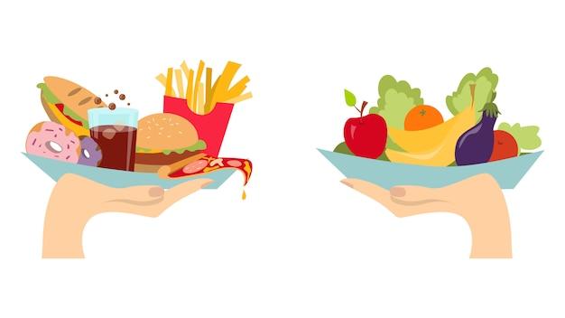 Concepto De Elección De Alimentos Dos Manos Con Verduras Sanas Y Frescas Y Comida Chatarra Poco Saludable Basura Vector Premium