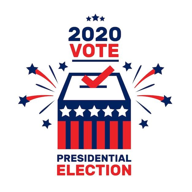 Concepto de elección presidencial estadounidense ilustrado vector gratuito