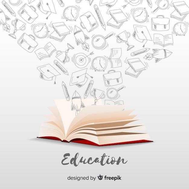 Concepto elegante de educación con diseño realista vector gratuito
