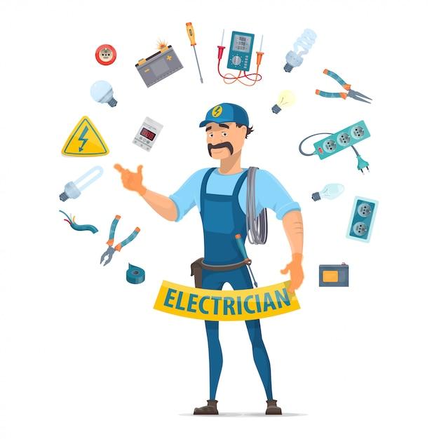 Concepto de elementos de electricidad colorido vector gratuito