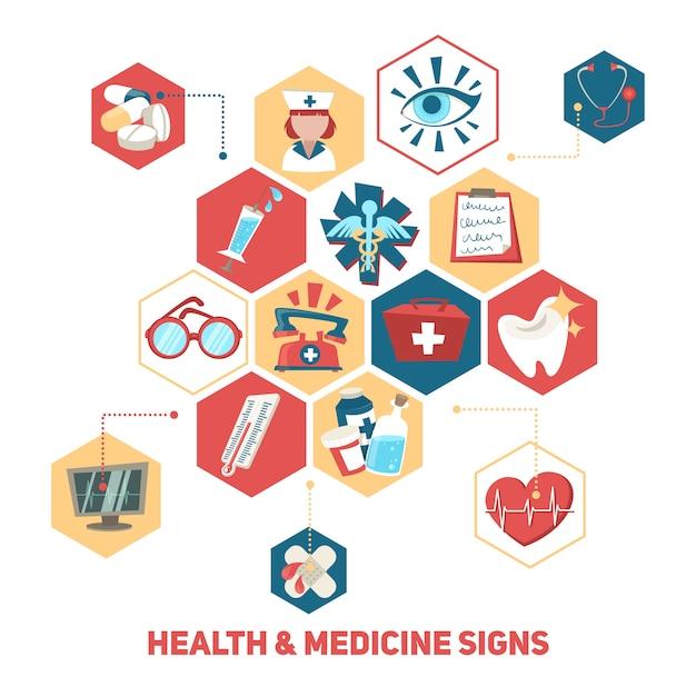 Concepto de elementos médicos y de salud. vector gratuito